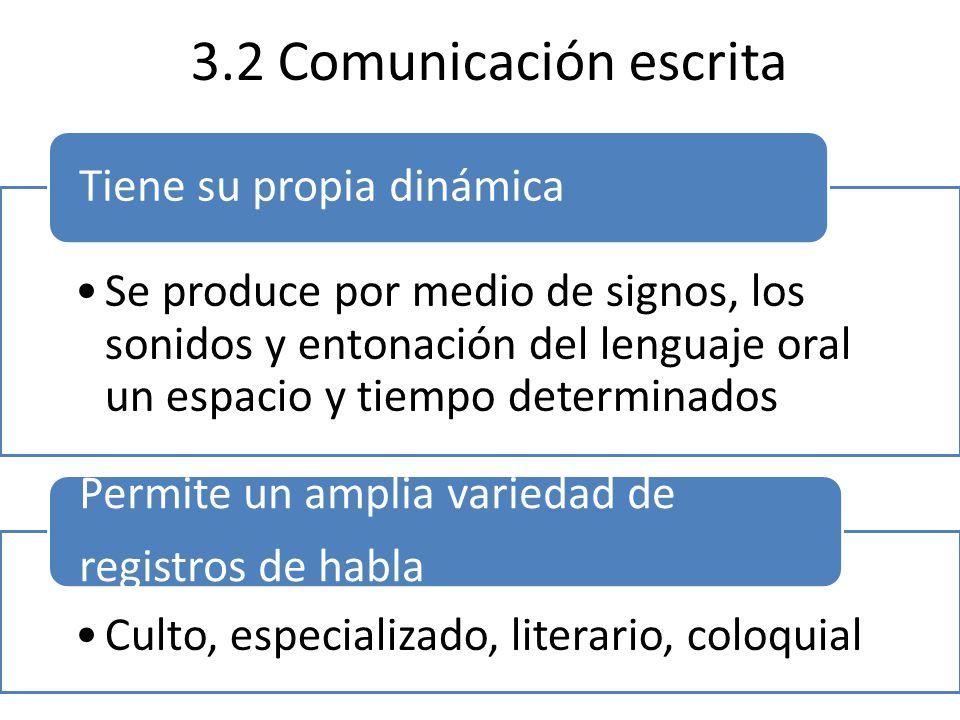 3.2 Comunicación escrita Se produce por medio de signos, los sonidos y entonación del lenguaje oral un espacio y tiempo determinados Tiene su propia dinámica Culto, especializado, literario, coloquial Permite un amplia variedad de registros de habla