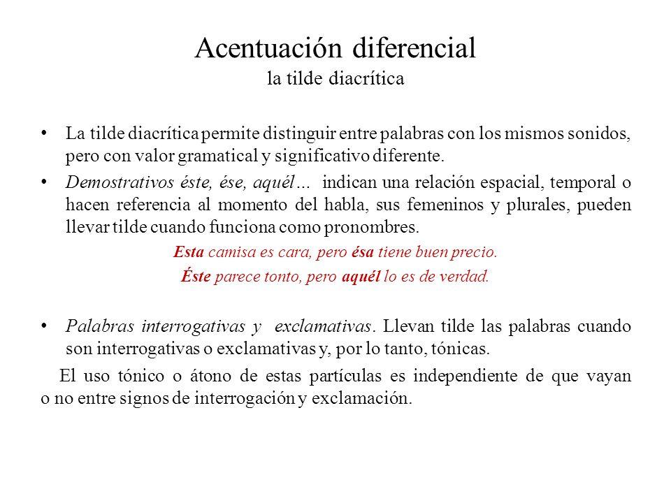 Acentuación diferencial la tilde diacrítica La tilde diacrítica permite distinguir entre palabras con los mismos sonidos, pero con valor gramatical y significativo diferente.