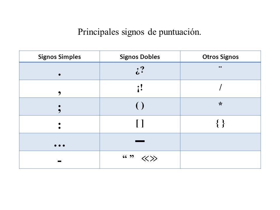 Principales signos de puntuación.Signos SimplesSignos DoblesOtros Signos.