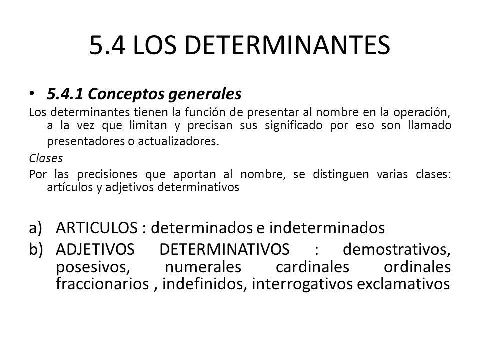 5.4 LOS DETERMINANTES 5.4.1 Conceptos generales Los determinantes tienen la función de presentar al nombre en la operación, a la vez que limitan y precisan sus significado por eso son llamado presentadores o actualizadores.