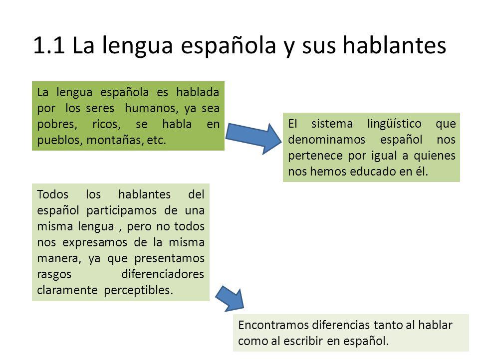 1.1 La lengua española y sus hablantes La lengua española es hablada por los seres humanos, ya sea pobres, ricos, se habla en pueblos, montañas, etc.