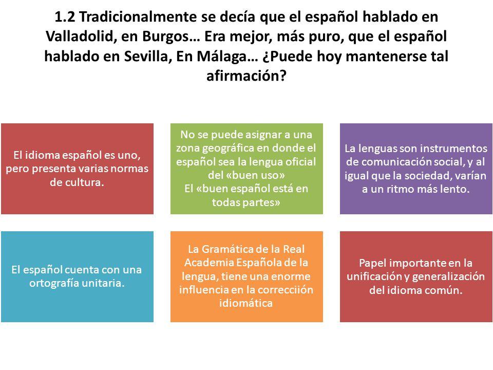 1.2 Tradicionalmente se decía que el español hablado en Valladolid, en Burgos… Era mejor, más puro, que el español hablado en Sevilla, En Málaga… ¿Puede hoy mantenerse tal afirmación.
