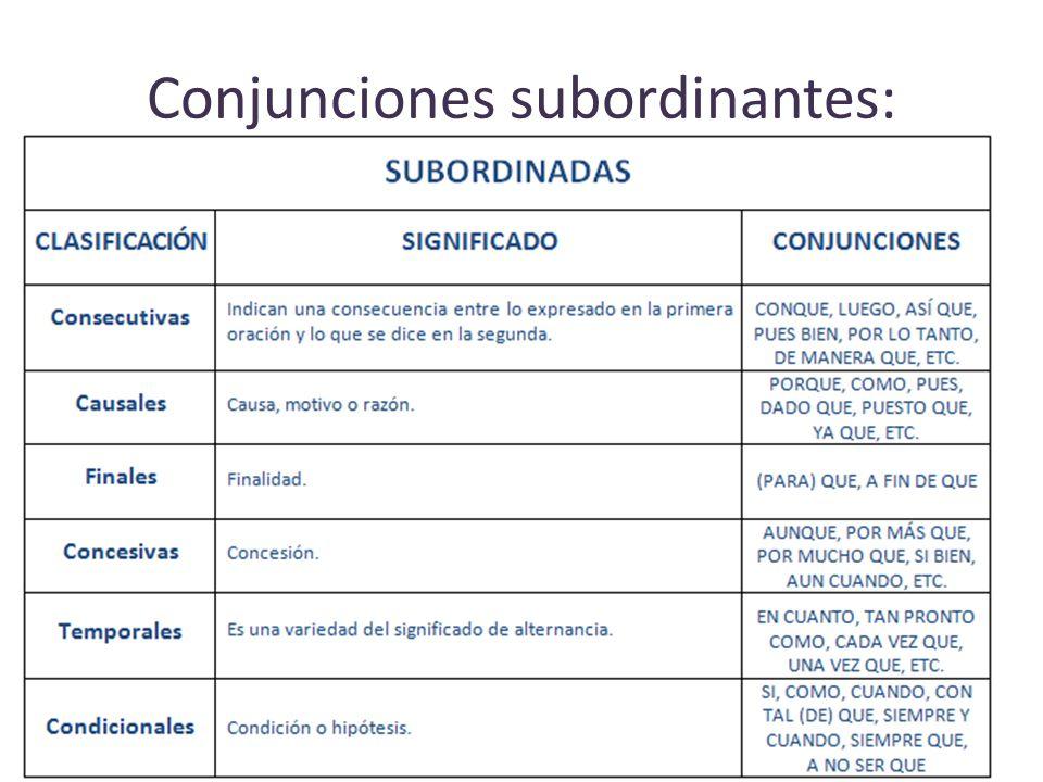 Conjunciones subordinantes: