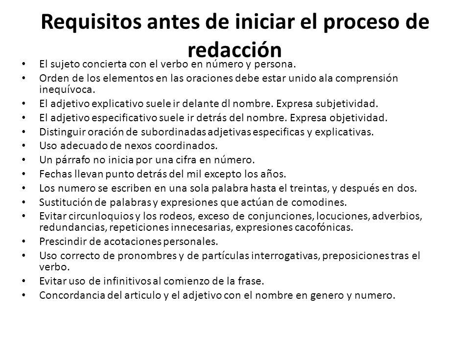 Requisitos antes de iniciar el proceso de redacción El sujeto concierta con el verbo en número y persona.