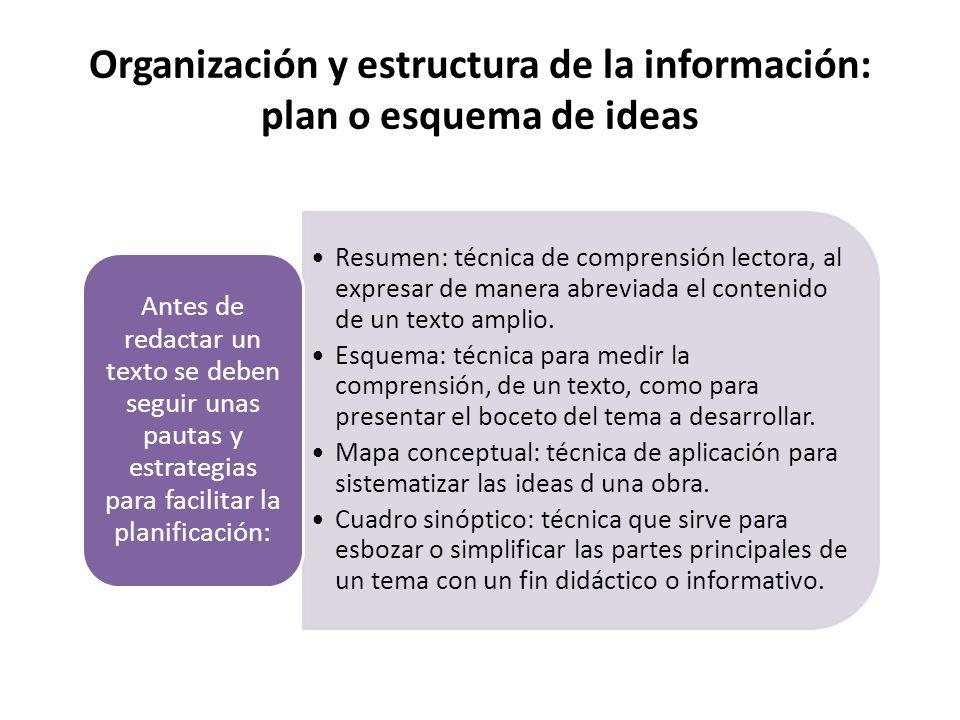 Organización y estructura de la información: plan o esquema de ideas Resumen: técnica de comprensión lectora, al expresar de manera abreviada el contenido de un texto amplio.