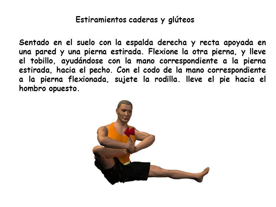 Estiramientos caderas y glúteos Sentado en el suelo con la espalda derecha y recta apoyada en una pared y una pierna estirada.
