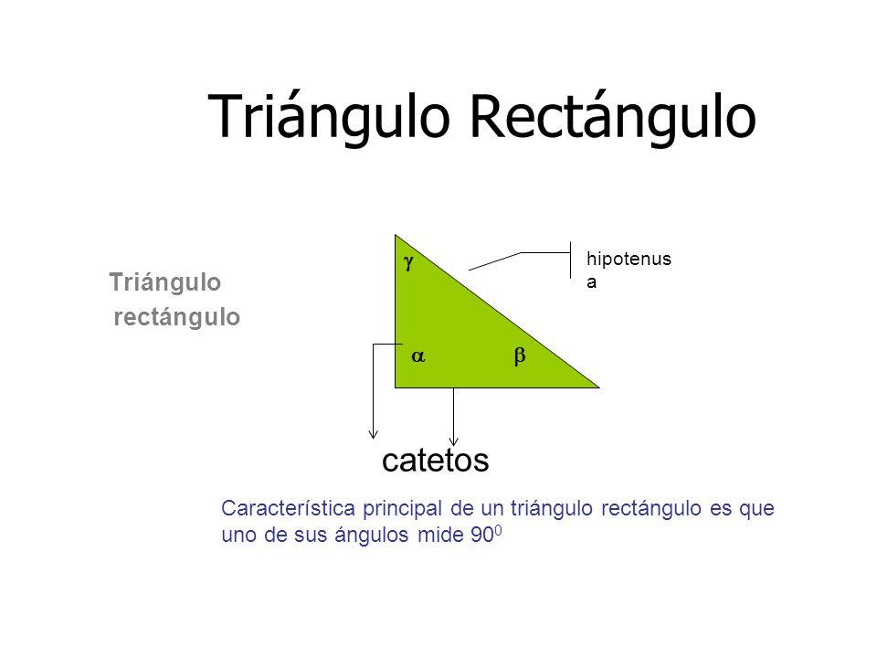 Triángulo Rectángulo Triángulo rectángulo  hipotenus a   catetos Característica principal de un triángulo rectángulo es que uno de sus ángulos mide