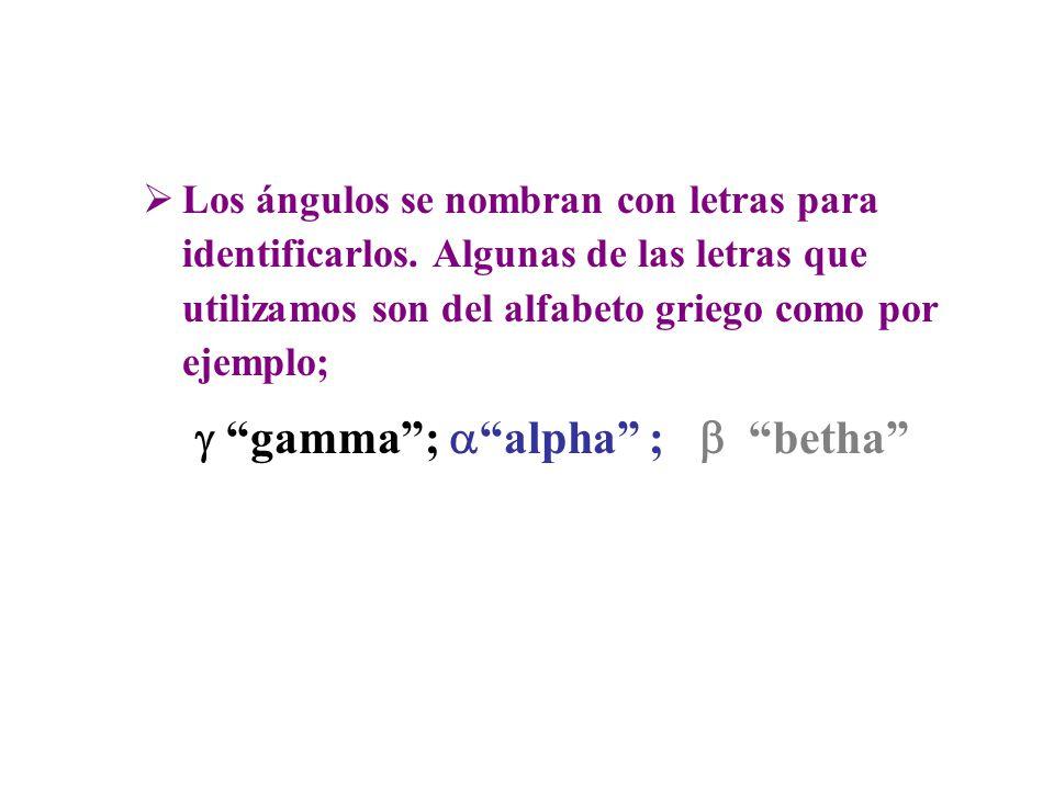 """ Los ángulos se nombran con letras para identificarlos. Algunas de las letras que utilizamos son del alfabeto griego como por ejemplo;  """"gamma"""";  """""""