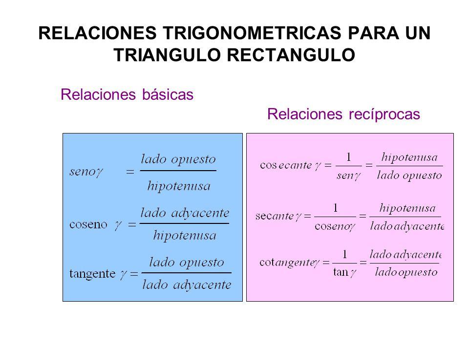 RELACIONES TRIGONOMETRICAS PARA UN TRIANGULO RECTANGULO Relaciones básicas Relaciones recíprocas