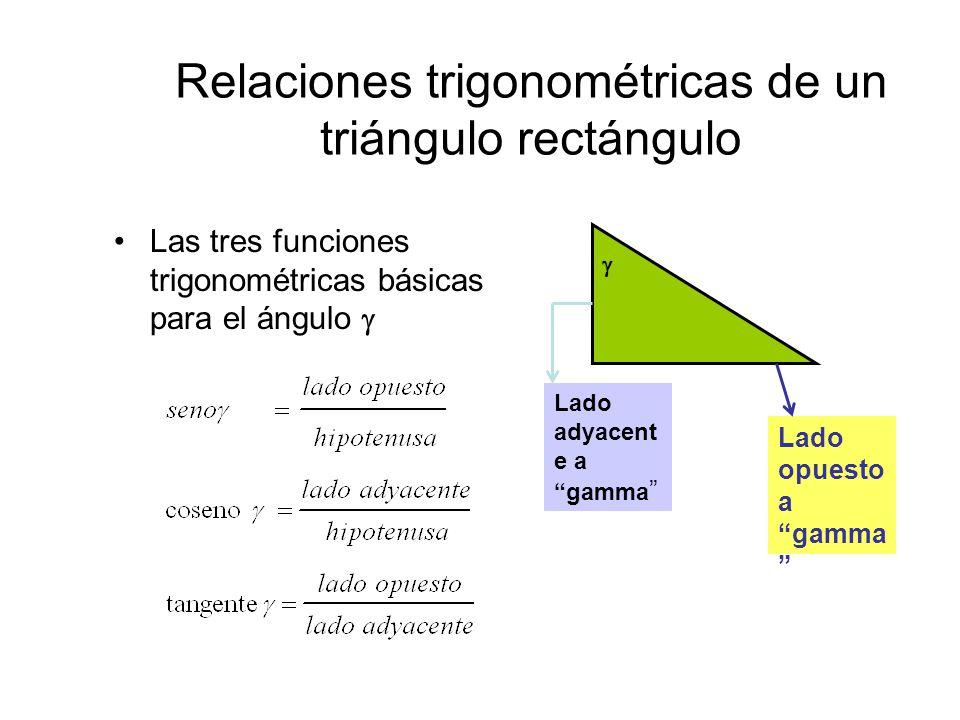 """Relaciones trigonométricas de un triángulo rectángulo Las tres funciones trigonométricas básicas para el ángulo   Lado adyacent e a """"gamma """" Lado op"""