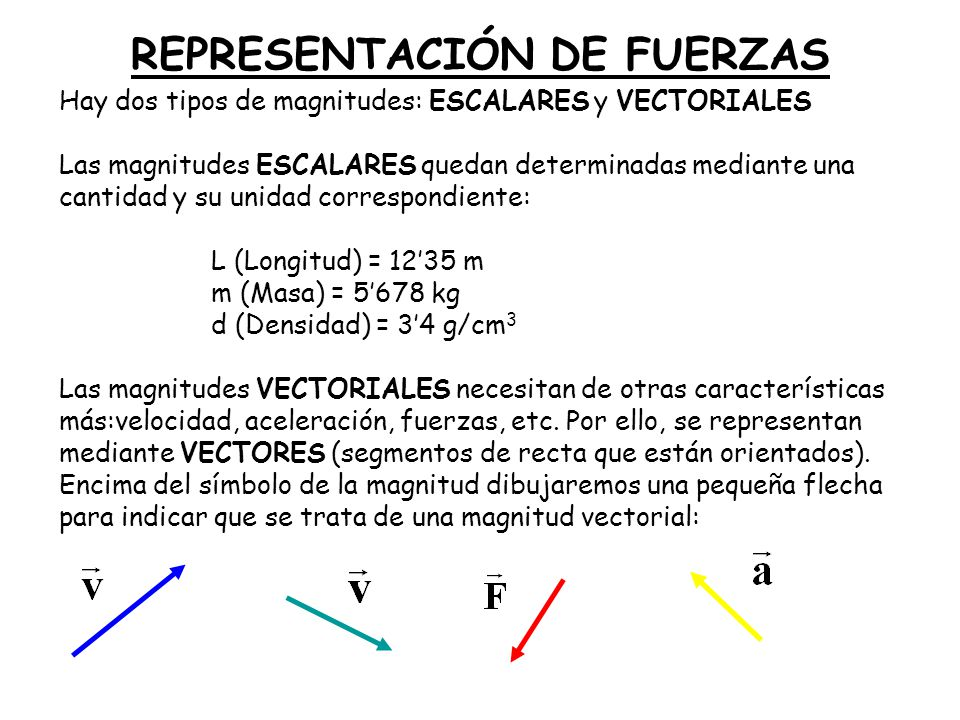 REPRESENTACIÓN DE FUERZAS Hay dos tipos de magnitudes: ESCALARES y VECTORIALES Las magnitudes ESCALARES quedan determinadas mediante una cantidad y su