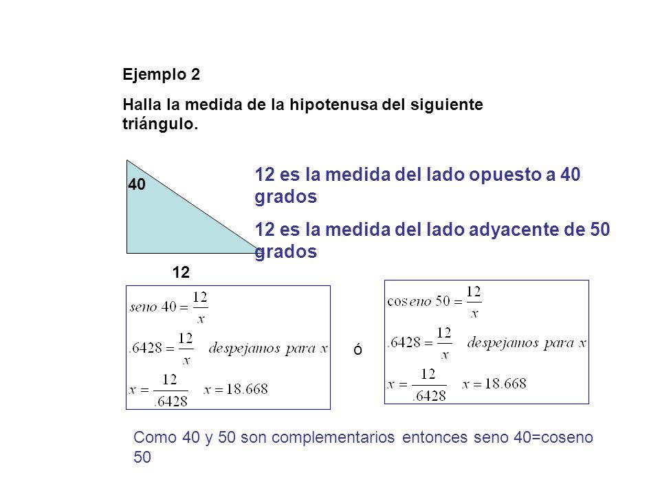 Ejemplo 2 Halla la medida de la hipotenusa del siguiente triángulo. 40 12 12 es la medida del lado opuesto a 40 grados 12 es la medida del lado adyace