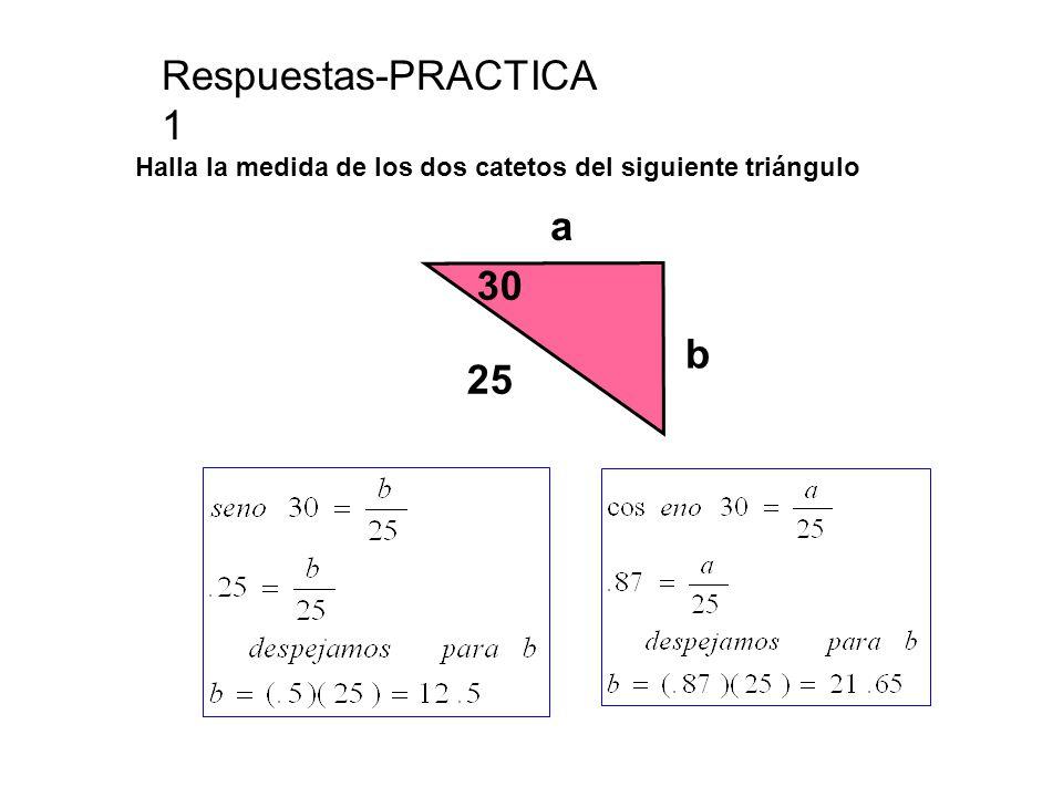 Respuestas-PRACTICA 1 Halla la medida de los dos catetos del siguiente triángulo 30 25 b a