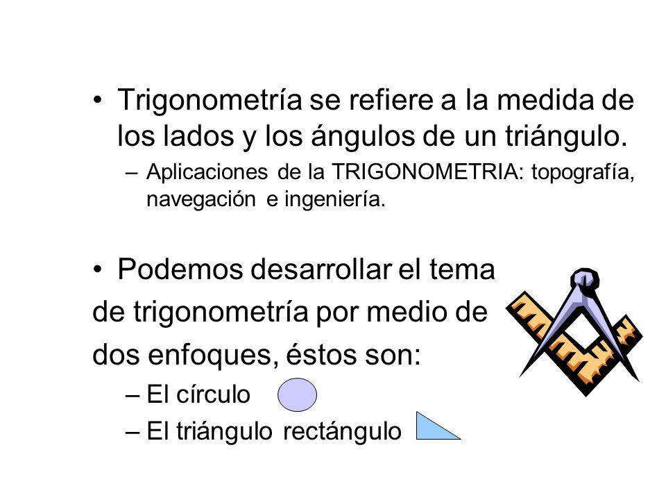 Trigonometría se refiere a la medida de los lados y los ángulos de un triángulo. –Aplicaciones de la TRIGONOMETRIA: topografía, navegación e ingenierí