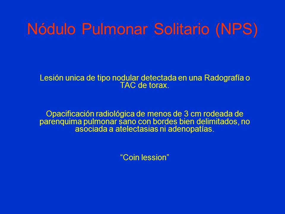 Lesión unica de tipo nodular detectada en una Radografía o TAC de torax.
