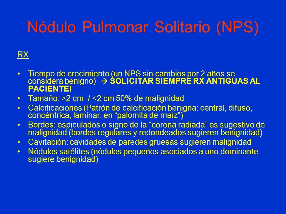 Nódulo Pulmonar Solitario (NPS) RX Tiempo de crecimiento (un NPS sin cambios por 2 años se considera benigno)  SOLICITAR SIEMPRE RX ANTIGUAS AL PACIENTE.