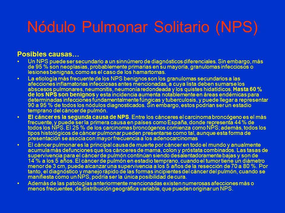 Nódulo Pulmonar Solitario (NPS) Posibles causas… Un NPS puede ser secundario a un sinnúmero de diagnósticos diferenciales.