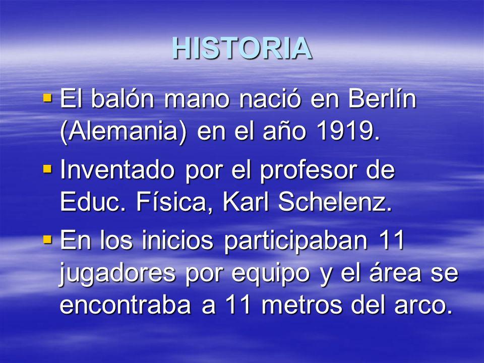 HISTORIA  El balón mano nació en Berlín (Alemania) en el año 1919.  Inventado por el profesor de Educ. Física, Karl Schelenz.  En los inicios parti