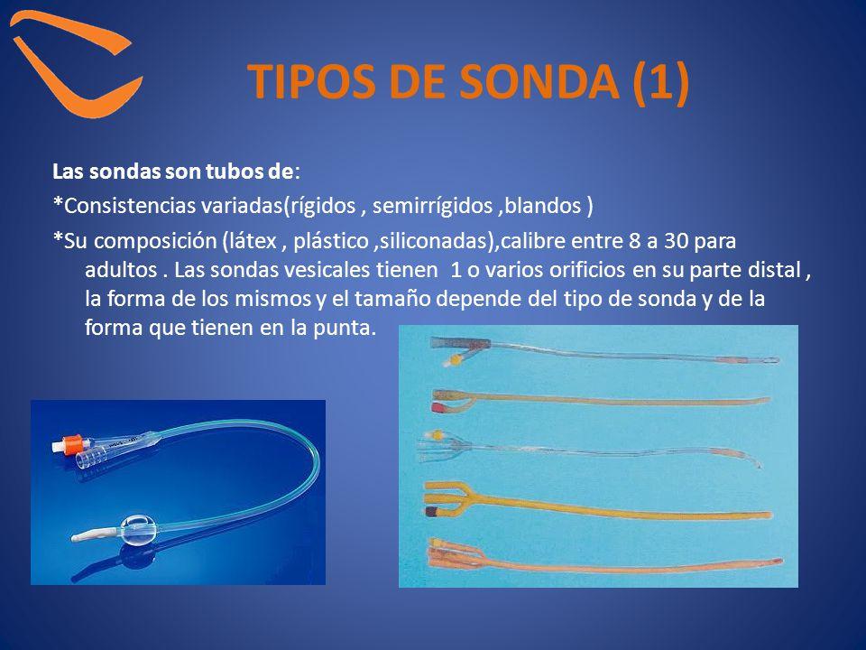 TIPOS DE SONDA (1) Las sondas son tubos de: *Consistencias variadas(rígidos, semirrígidos,blandos ) *Su composición (látex, plástico,siliconadas),cali