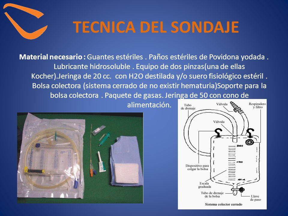 TECNICA DEL SONDAJE Material necesario : Guantes estériles. Paños estériles de Povidona yodada. Lubricante hidrosoluble. Equipo de dos pinzas(una de e