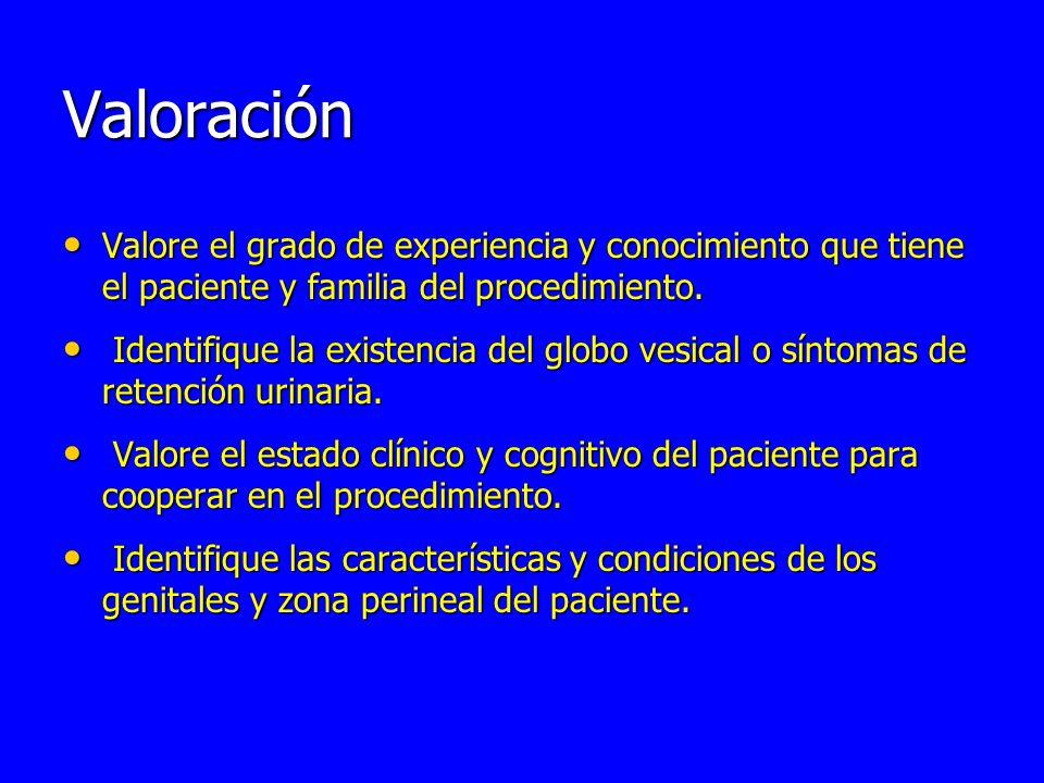 Valoración Valore el grado de experiencia y conocimiento que tiene el paciente y familia del procedimiento.