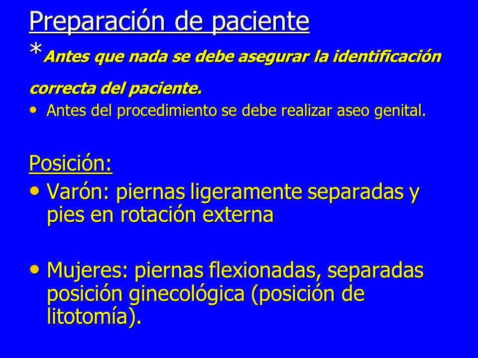 Preparación de paciente * Antes que nada se debe asegurar la identificación correcta del paciente.