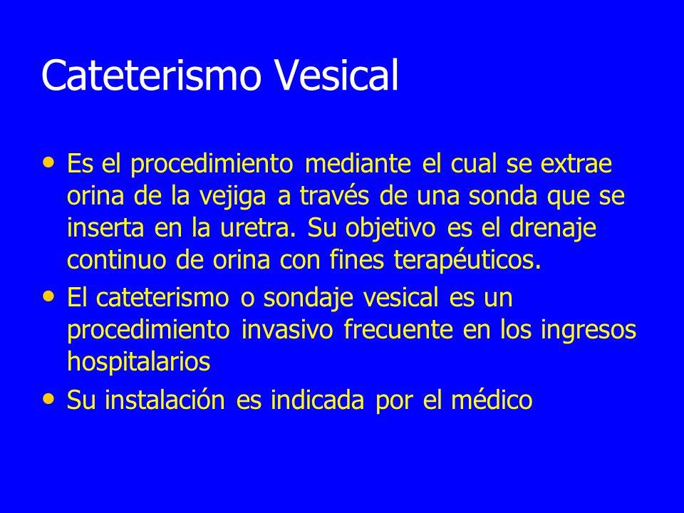 Cateterismo Vesical Es el procedimiento mediante el cual se extrae orina de la vejiga a través de una sonda que se inserta en la uretra.