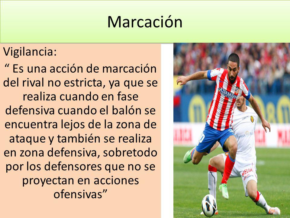 Marcación Vigilancia: Es una acción de marcación del rival no estricta, ya que se realiza cuando en fase defensiva cuando el balón se encuentra lejos de la zona de ataque y también se realiza en zona defensiva, sobretodo por los defensores que no se proyectan en acciones ofensivas
