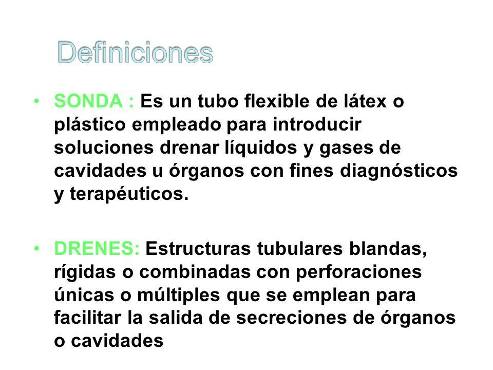 SONDA : Es un tubo flexible de látex o plástico empleado para introducir soluciones drenar líquidos y gases de cavidades u órganos con fines diagnósticos y terapéuticos.