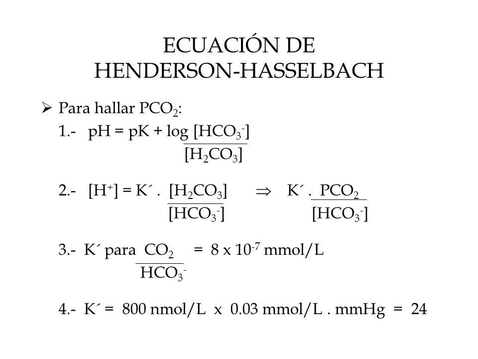 ECUACIÓN DE HENDERSON-HASSELBACH  Para hallar PCO 2 : 1.- pH = pK + log [HCO 3 - ] [H 2 CO 3 ] 2.- [H + ] = K´.