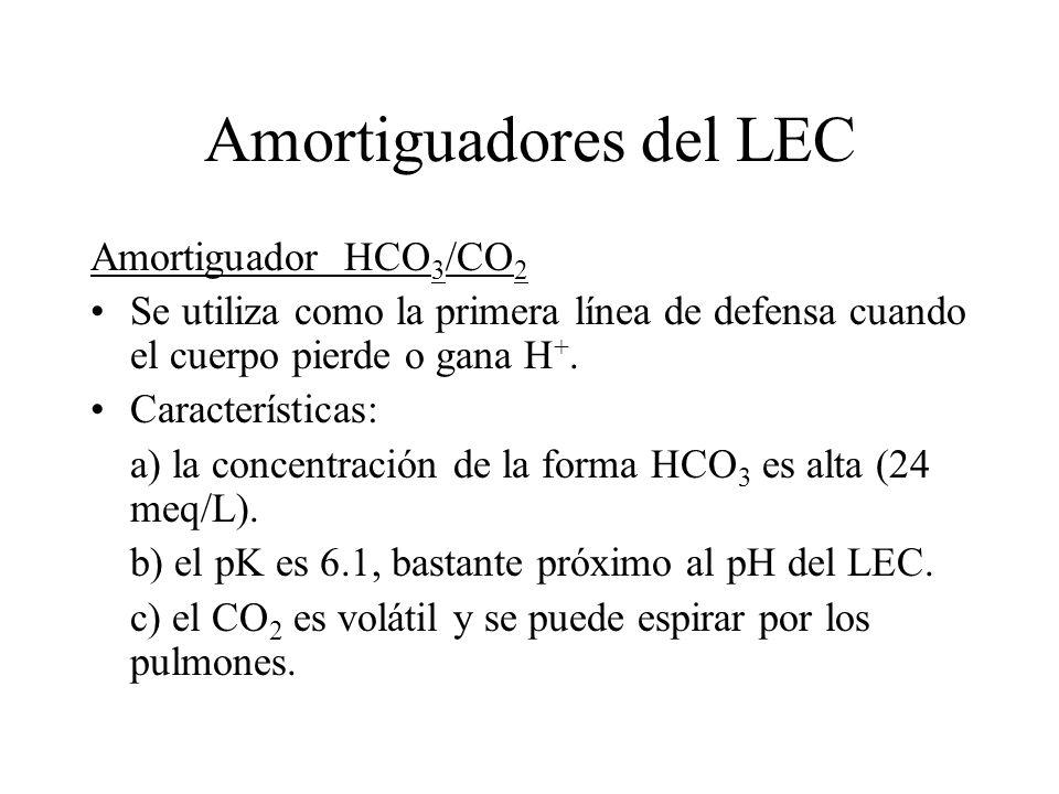 Amortiguadores del LEC Amortiguador HCO 3 /CO 2 Se utiliza como la primera línea de defensa cuando el cuerpo pierde o gana H +.