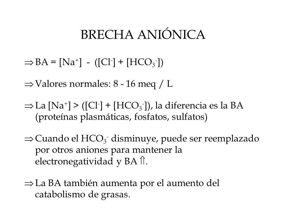 BRECHA ANIÓNICA  BA = [Na + ] - ([Cl - ] + [HCO 3 - ])  Valores normales: 8 - 16 meq / L  La [Na + ] > ([Cl - ] + [HCO 3 - ]), la diferencia es la BA (proteínas plasmáticas, fosfatos, sulfatos)  Cuando el HCO 3 - disminuye, puede ser reemplazado por otros aniones para mantener la electronegatividad y BA .