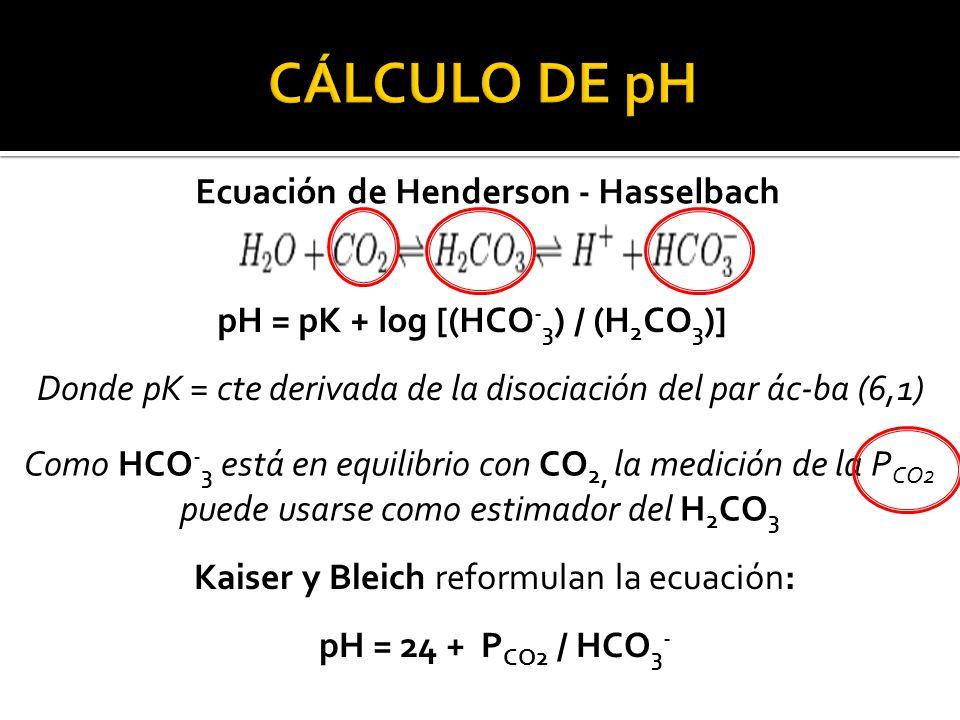 Ecuación de Henderson - Hasselbach pH = pK + log [(HCO - 3 ) / (H 2 CO 3 )] Donde pK = cte derivada de la disociación del par ác-ba (6,1) Como HCO - 3 está en equilibrio con CO 2, la medición de la P CO2 puede usarse como estimador del H 2 CO 3 Kaiser y Bleich reformulan la ecuación: pH = 24 + P CO2 / HCO 3 -