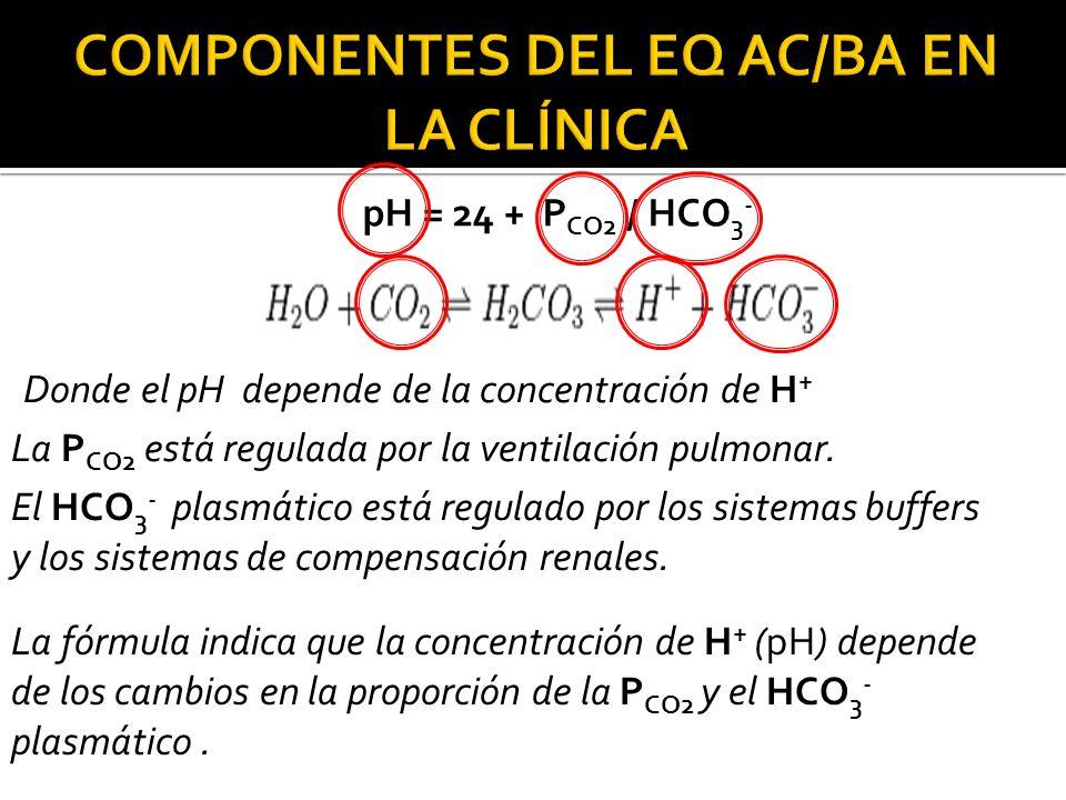 Donde el pH depende de la concentración de H + La P CO2 está regulada por la ventilación pulmonar.