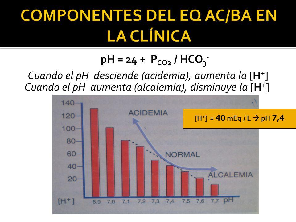 Cuando el pH desciende (acidemia), aumenta la [H + ] pH = 24 + P CO2 / HCO 3 - Cuando el pH aumenta (alcalemia), disminuye la [H + ] [H + ] = 40 mEq / L  pH 7,4