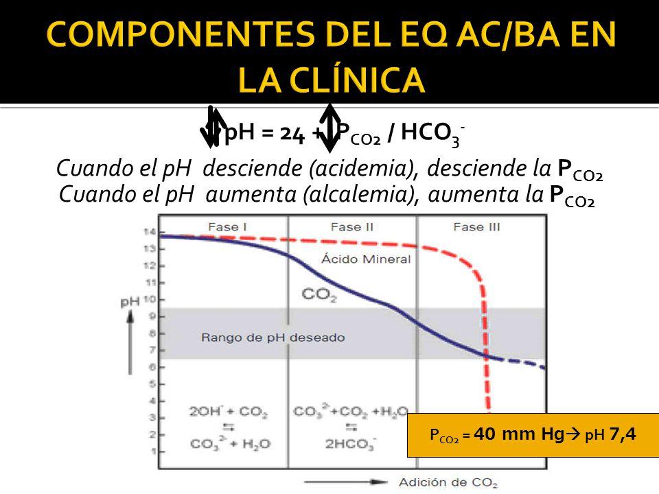 Cuando el pH desciende (acidemia), desciende la P CO2 pH = 24 + P CO2 / HCO 3 - Cuando el pH aumenta (alcalemia), aumenta la P CO2 P CO2 = 40 mm Hg  pH 7,4