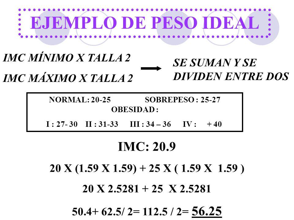 EJEMPLO DE PESO IDEAL IMC MÍNIMO X TALLA 2 IMC MÁXIMO X TALLA 2 SE SUMAN Y SE DIVIDEN ENTRE DOS NORMAL: 20-25 SOBREPESO : 25-27 OBESIDAD : I : 27- 30