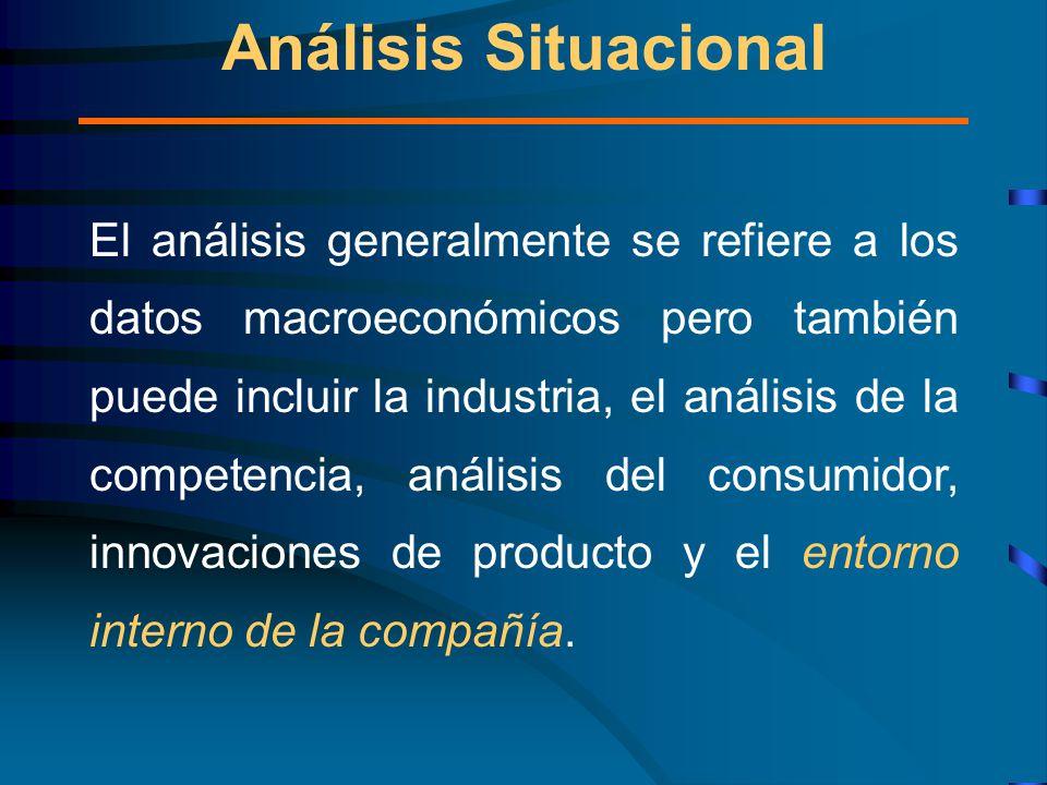 El análisis generalmente se refiere a los datos macroeconómicos pero también puede incluir la industria, el análisis de la competencia, análisis del consumidor, innovaciones de producto y el entorno interno de la compañía.