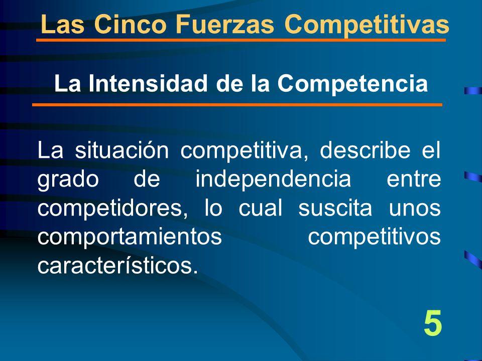 La situación competitiva, describe el grado de independencia entre competidores, lo cual suscita unos comportamientos competitivos característicos.