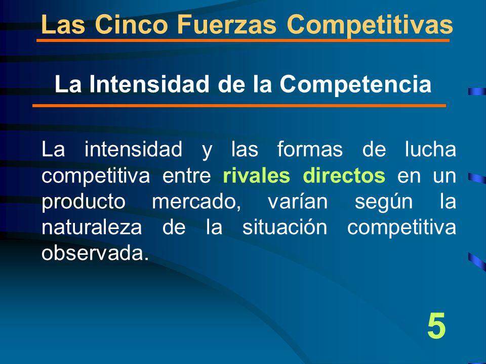 Las Cinco Fuerzas Competitivas La intensidad y las formas de lucha competitiva entre rivales directos en un producto mercado, varían según la naturaleza de la situación competitiva observada.