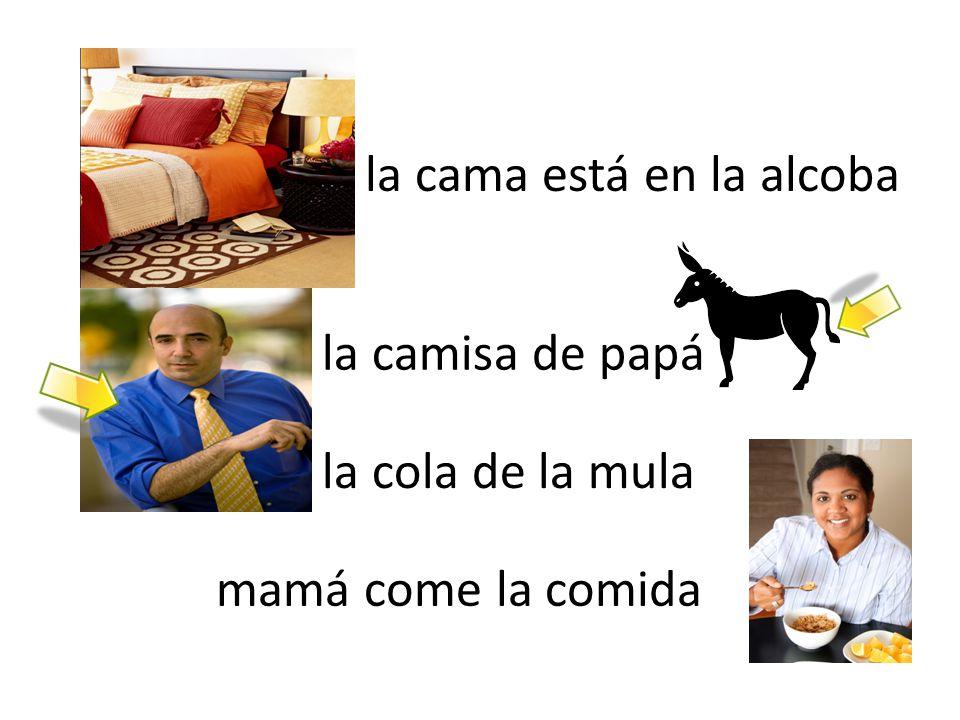 la cama está en la alcoba la camisa de papá la cola de la mula mamá come la comida