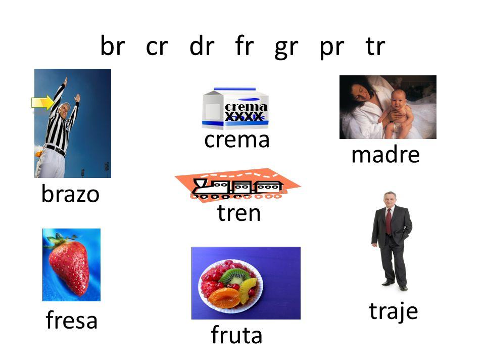 br cr dr fr gr pr tr crema XXXX brazo crema madre tren fresa fruta traje