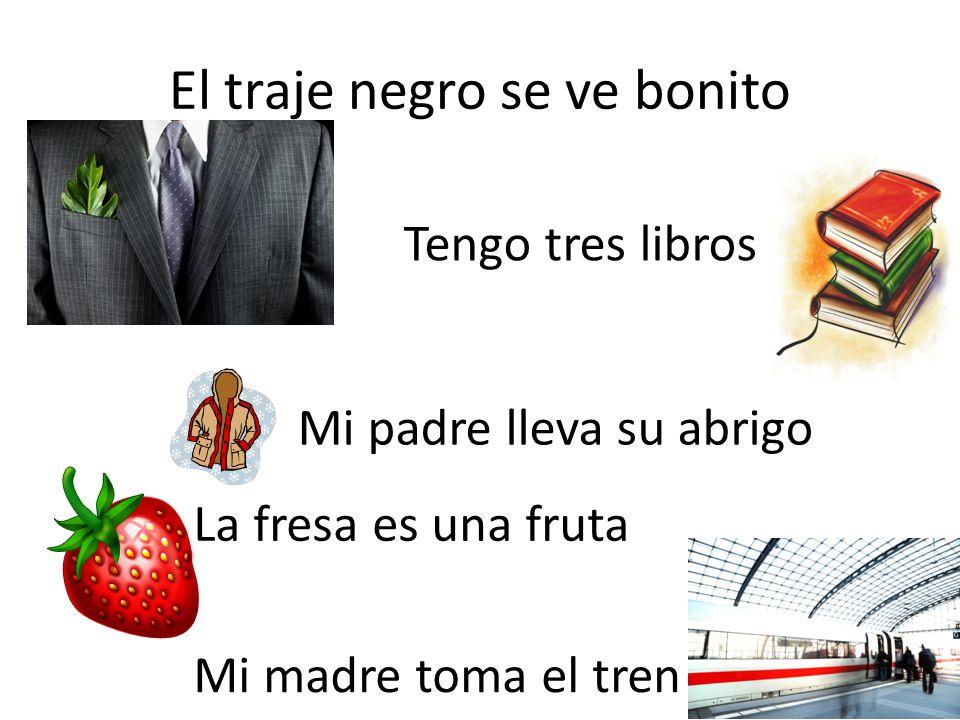 El traje negro se ve bonito Tengo tres libros Mi padre lleva su abrigo La fresa es una fruta Mi madre toma el tren