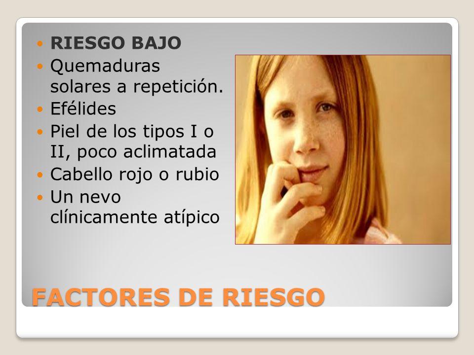 FACTORES DE RIESGO RIESGO BAJO Quemaduras solares a repetición.