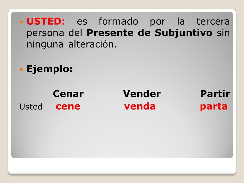 USTED: es formado por la tercera persona del Presente de Subjuntivo sin ninguna alteración.