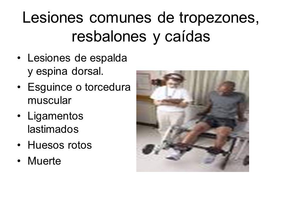 Lesiones comunes de tropezones, resbalones y caídas Lesiones de espalda y espina dorsal. Esguince o torcedura muscular Ligamentos lastimados Huesos ro