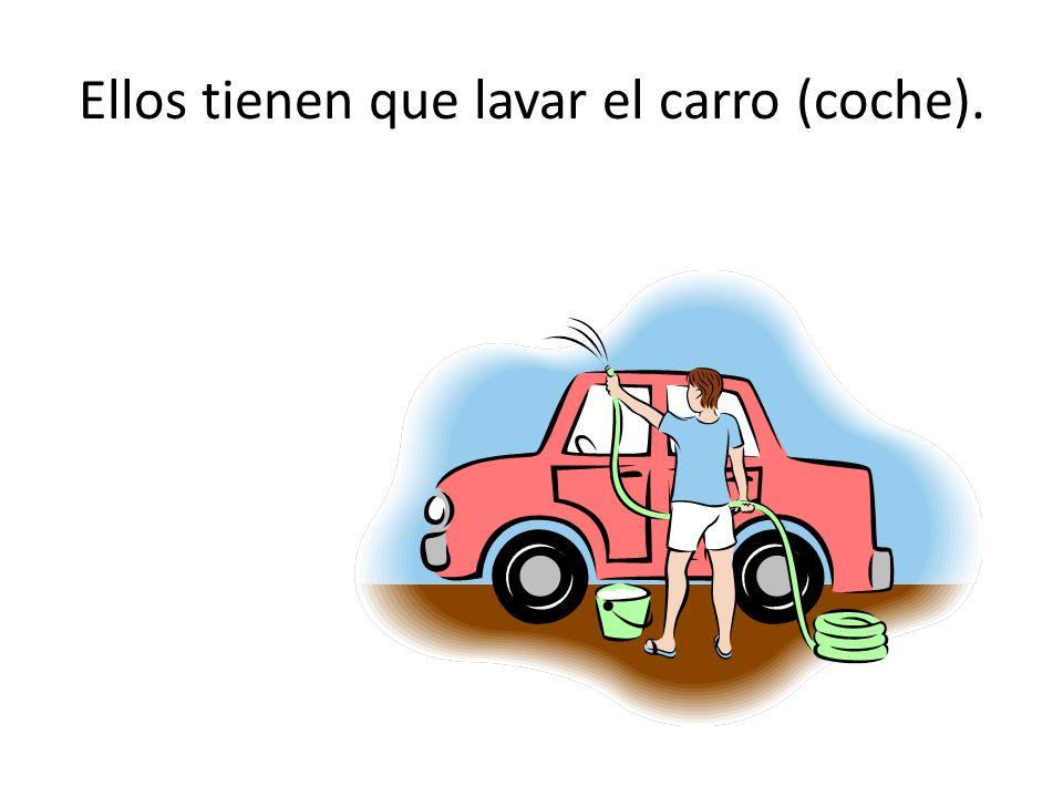 Ellos tienen que lavar el carro (coche).