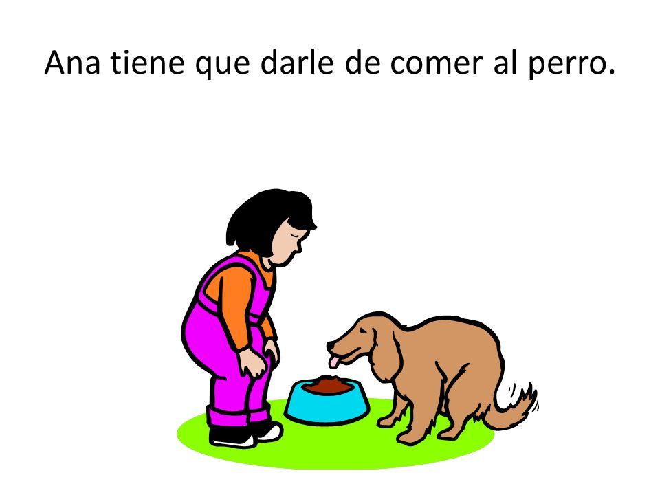 Ana tiene que darle de comer al perro.