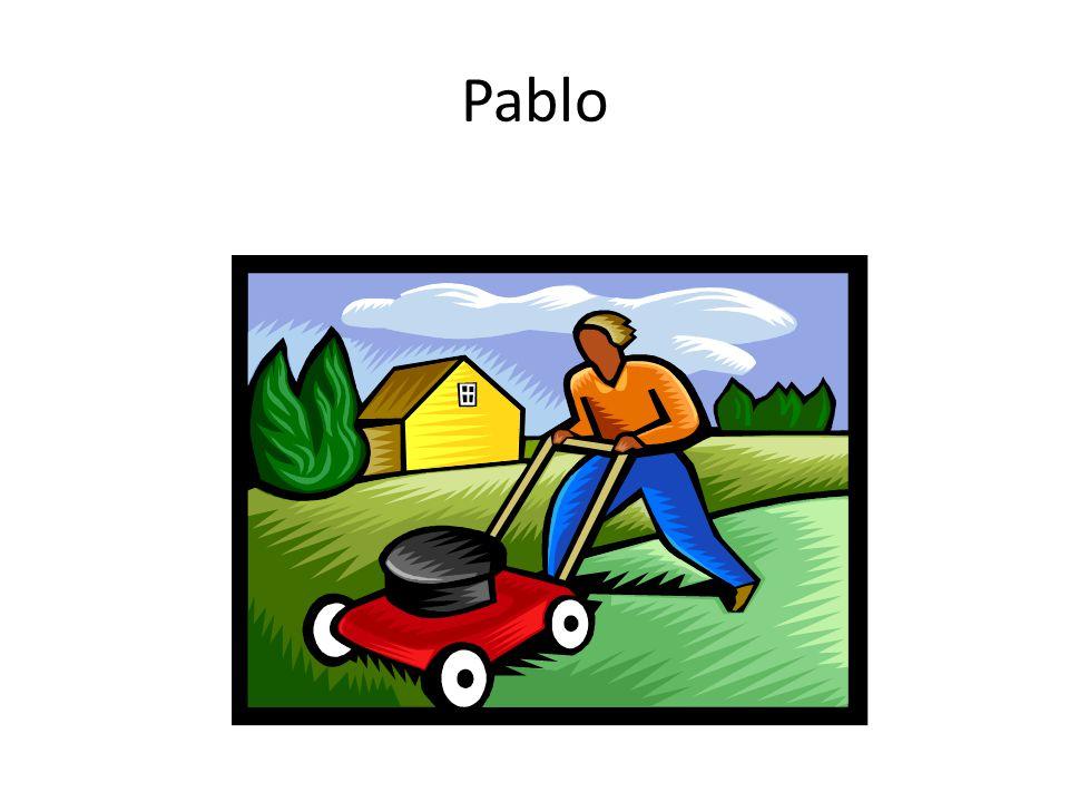 Pablo tiene que cortar el césped.