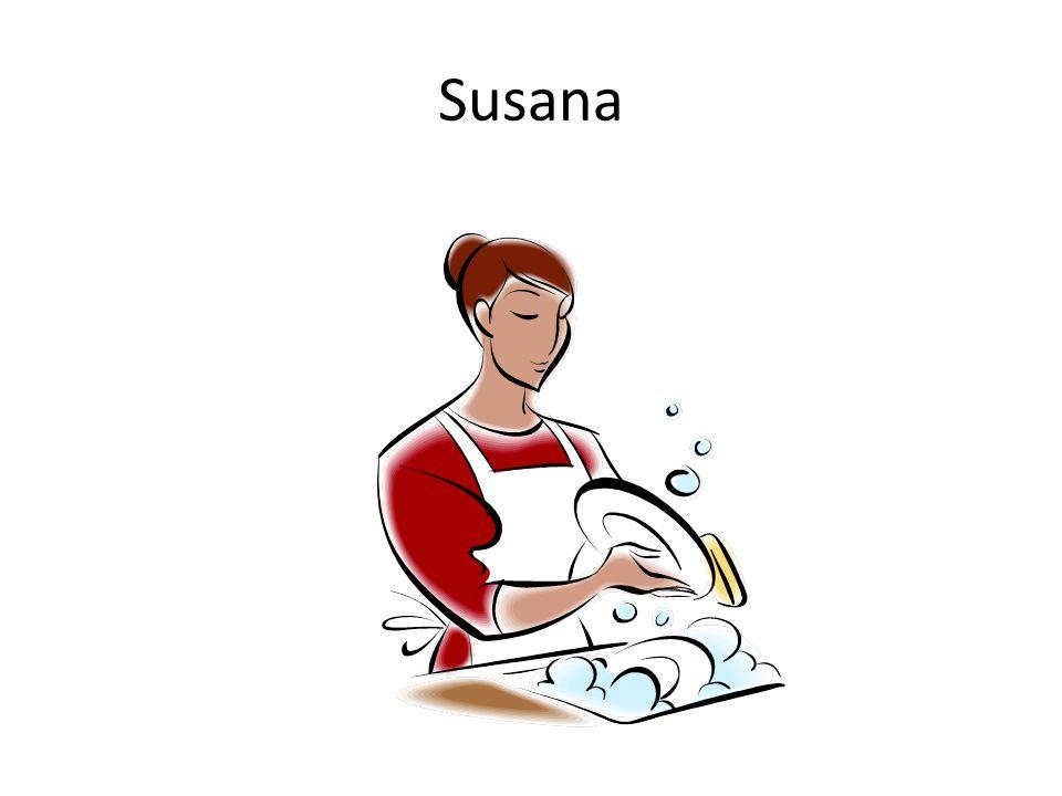 Susana tiene que lavar (fregar) los platos.